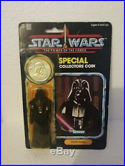1984 Star Wars Potf Darth Vader With Coin Damaged Bubble And Card Kenner