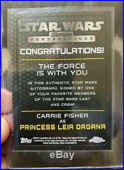 2014 Topps Star Star Perspectives Carrie Fisher Princess Leia On Card Auto