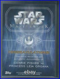 2015 Topps Star Wars Masterwork Carrie Fisher Princess Leia On Card Auto