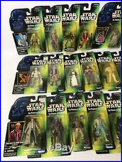 96-97 Star Wars Power of the Force Lot 22 Hologram Green Card Figures Kenner