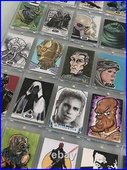 Amazing Star Wars Sketch Card Collection (35 Cards) RARE
