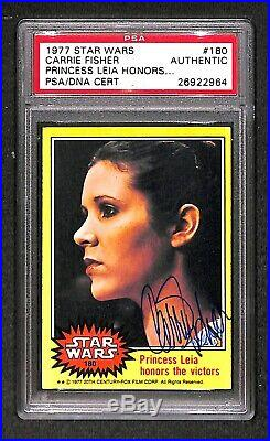 CARRIE FISHER Princess Leia 1977 TOPPS SIGNED AUTOGRAPHED CARD PSA/DNA ROOKIE