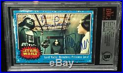Carrie Fisher & Dave Prowse STAR WARS signed Topps card BAS BECKETT Rookie Card