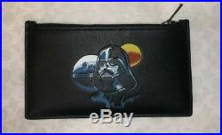 Coach X Star Wars F89058 Top Zip Card Coin Case Wallet Leather Darth Vader NEW