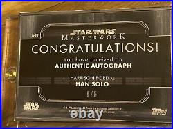 Harrison Ford 2020 Masterwork Han Solo Auto Silver Frame 1/5 Signed Topps Card