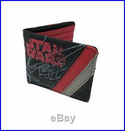 NEW ThinkGeek Star Wars First Order Red and Black Bi-Fold Wallet 5 Card Slots