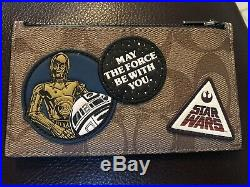 NWT Coach Men's Star Wars Zip Card Case In Signature Canvas Patches F89056 $150