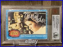 Signed Carrie Fisher 1977 Topps Star Wars Autographed Trading Card Beckett