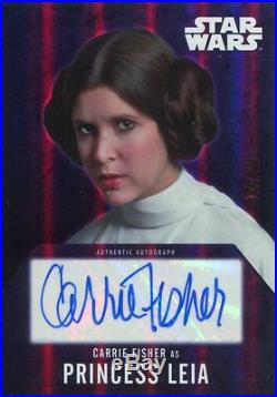 Star Wars Evolution 2016 Purple 25 Autograph Card Carrie Fisher as Leia Organa