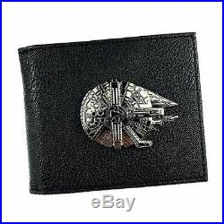 Star Wars Millennium Falcon Metal Bifold Wallet Leather Cards Notes Coin Holder