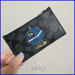 Star Wars X Coach Zip Card Case In Signature Canvas With Power Droid F88109 $128