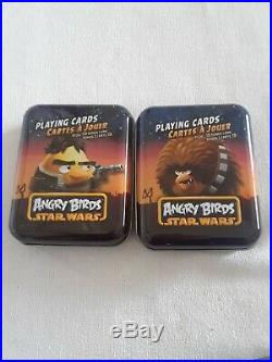 TWO Angry Bird Stars Wars playing cards for kids IN A TIN