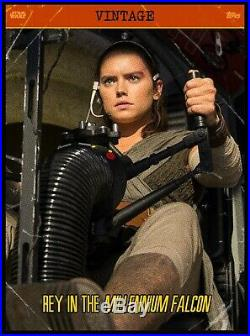 Topps SWCT Star Wars Card Trader Vintage Cross Award Rey in Millennium Falcon