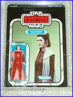 Vintage Star Wars 1980 Kenner AFA 75 PRINCESS LEIA BESPIN GOWN ESB BACK CARD MOC