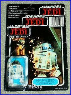 Vintage Star Wars 1985 R2-D2 POP-UP SABER TRI-LOGO Card Back MOC CLR BUB AFA IT