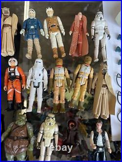 Vintage Star Wars lot of figurines and cases 75+ pieces Weapons Card backs