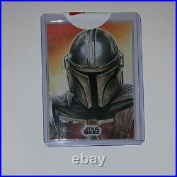 WOW! 2020 Topps Star Wars The Mandalorian Series 1 Sketch Card 1/1 FULL COLOR